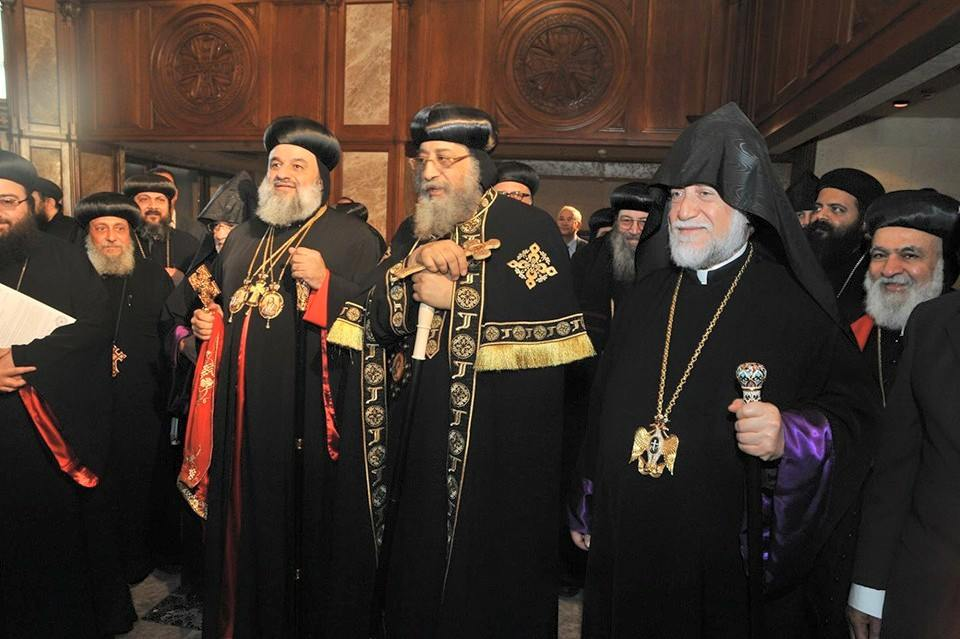Pope Tawadros II receives Patriarch Ignatius Aphrem II and Catholicos Aram I